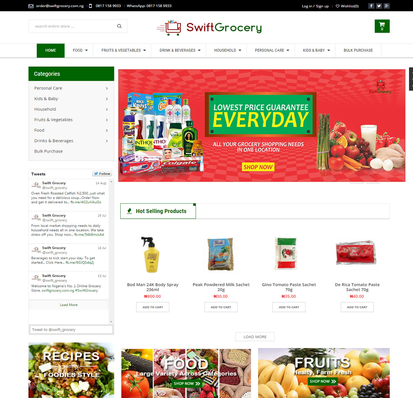 SwiftGrocery Website